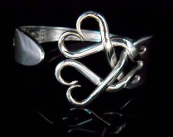 Mother's Day Gift, Silver Fork Bracelet in Original Weaving Hearts Design