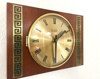 Wall Clock Vintage  Mid Century Weimar  Retro German Wooden Eastern Germany GDR Junghans Era Beautiful