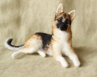 Made to order custom needle felted dog, memorial, portrait, wool sculpture, German Shepherd or your dog's breed