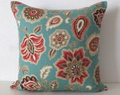 Custom Listing for Linda - 1-13.5x21 1-16x16 - Atherton Costal Floral Teal Red Metallic Gold Pillow Cover