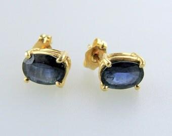 14K Yellow Gold Oval Sapphire Studs