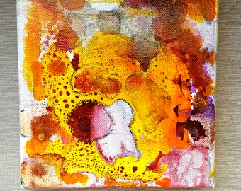 Last Lip - mixed media painting, abstract, mixie, by Shelli Finch of StressArt