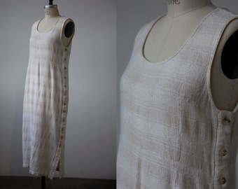 Vintage 90s Linen Loose Weave Maxi Tank Column Dress with Buttons Down Side M