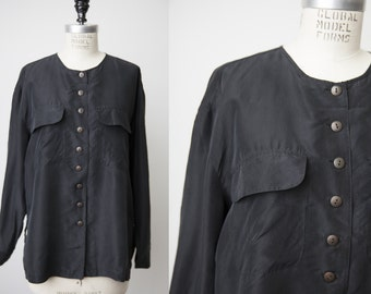 Vintage 90s Black SILK Long Sleeve Collarless Blouse Shirt with Chest Pockets M-L