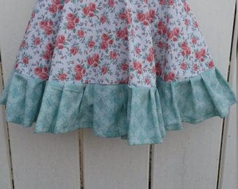 Size 3 Red and Green Floral Girls Ruffled Twirl Skirt READY to SHIP