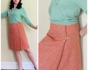 Vintage 1960s Red Wool Tweed Skirt Bobbie Brooks / 60s A Line Skirt with Buckles Faux Wrap / Small