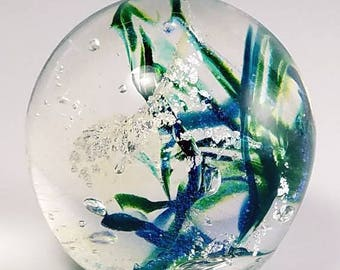 Blue and Green Handblown Glass Paperweight with Dichroic Glass and Silver