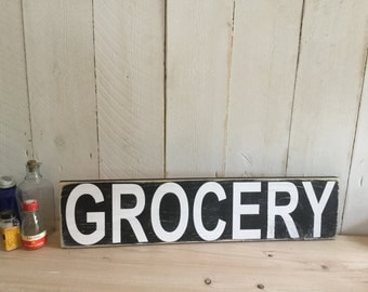 GROCERY Sign - Rustic Farmhouse Sign - Rustic Kitchen Sign - Ructic Home Decor - Ructic  Grocery Sign - Handpainted Kitchen Sign