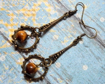 Ethnic Brass and Tiger Eye Boho Earrings (3144)