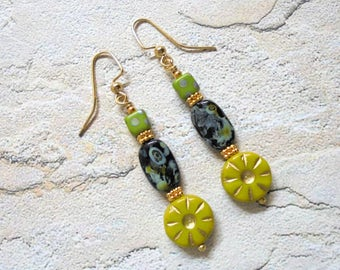 Chartreuse Green and Black Boho Earrings (3412)