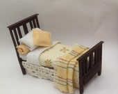 Dolls House Miniatures  Hand Painted Pretty Lemon Single Bed (148th  148  Quarter Scale )  Dolly