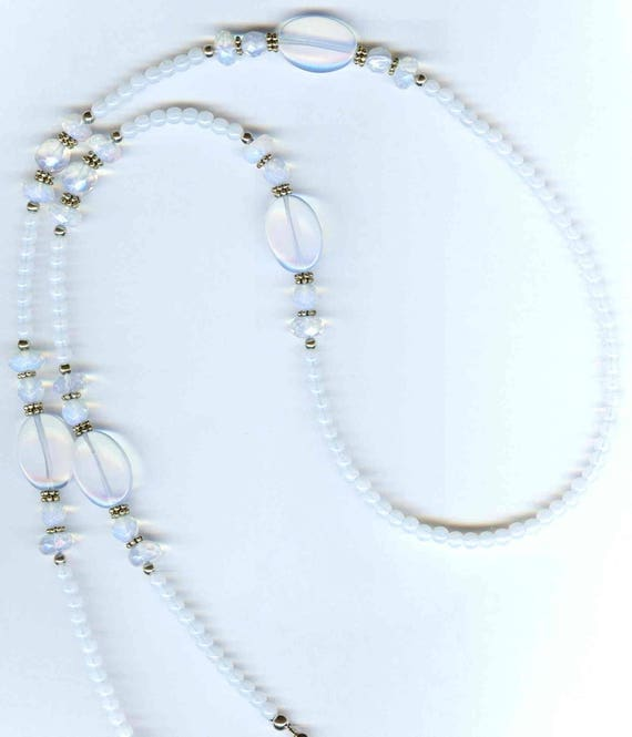 Genuine Opalized Quartz Beaded ID Badge Lanyard or Eyeglass Chain