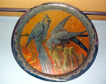"""Tray Vintage Round Metal Serving Tray with Parrots Design Birds Blue Exotic Birds on Rusty Crusty Round Tray 14"""" across 1"""" deep"""