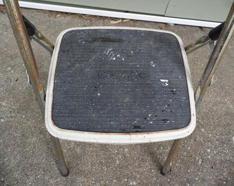"""Step stool vintage Costco step stool one step folding step stool metal rusty crusty with paint spattered step 32"""" tall"""