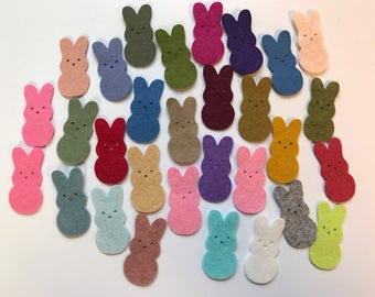Wool Felt Die Cut Easter Bunnies 30 - 1-3/8 inch tall Random Colored. 3014 - Easter - Rabbit - Easter decor