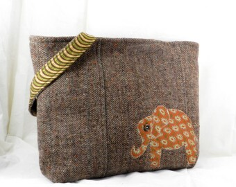 Wool Tweed Purse, Brown Tan, Elephant Purse, Felted Wool Bag, Upcycled Handbag, Felted Wool Purse, Felted Wool Tote, Handmade Bag