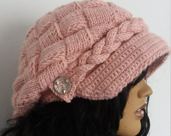 Blush color Slouchy Newsboy Cap -Button- Handmade-Knitted newsboy brimmed slouch hat