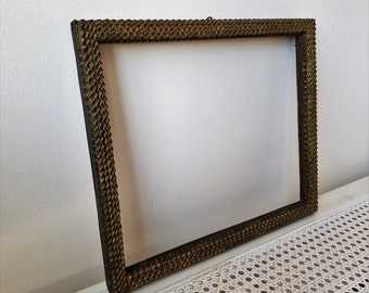 Vintage Tramp Art Carved Wood Picture Frame Large Layered Notched 11 3/4 x 14, Collectible Folk Art