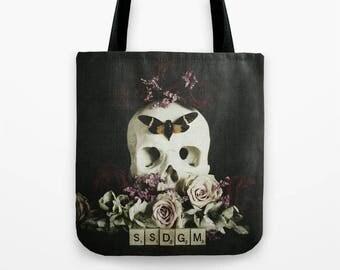 My Favorite Murder Tote Bag - SSDGM - book bag, market bag, ssdgm, stay sexy don't get murdered, true crime, skull, floral, murderino