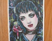 Lydia Beetlejuice  Patch - Sew On Patch Tattoo Art Punk Goth Tim Burton Lowbrow Creepy Cute Gift