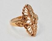 Vintage Goldtone Ring Filigree Oval Size 5 Ring Signed Vintage Jewelry Hallmarks 1960s 1970s