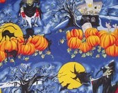 Alexander Henry Fabric Halloween Fabric 1993 Witching Hour 1 Yard Plus 34 Inches X 42 Inches Pumpkins Black Cats Witches 41733