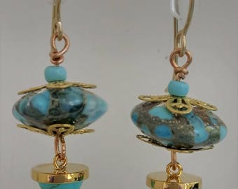 Earrings, with Artisan Lampwork