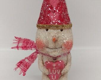 Valentine Snowman - Valentine's Day Gift - Paper Mache Snowman - Folk Art Snowman