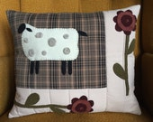 Sheep and Flower Pillow, Primitive Pillow, Spring, Quilted