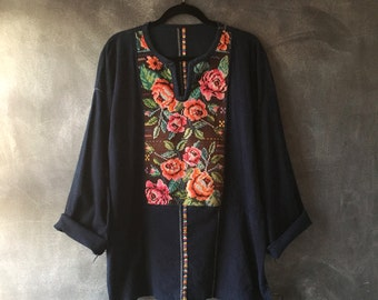 Oversized Guatemalan Indigo Embroidered Flower Huipil Tunic Mini Dress Unisex OSFM