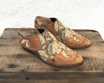 90s Ankle Chelsea Booties Floral Tapestry Brown Leather Winklepickers Cowboy Boots 1990s Ladies Size 6.5