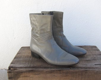 80s Grey Leather Mod Chelsea Boots Size 25.5 Mens  7, Ladies 8