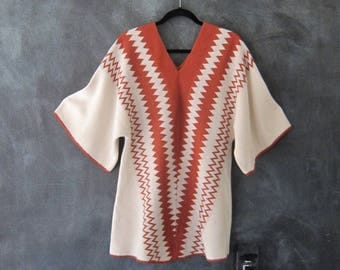 70s Mini Knit Dress Chevron Hippie Boho Bohemian Tunic Dolman Sleeve Spacedye Top Ladies OSFM