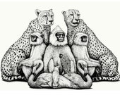 The Royal Menagerie - Limited Edition Print - Monkeys, Cheetas, Flamingos, a Parrot and a Cockatoo