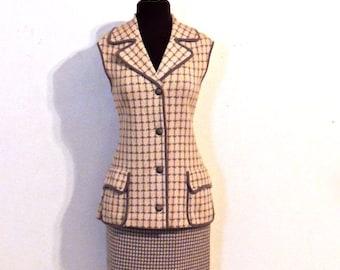 vintage wool skirt suit - 1960s Heatherton grey houndstooth knit skirt set