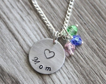 Mom Christmas Gifts Necklace, Personalized Jewelry, Mother Necklace, Birthstone Color, Mother Gifts, Mom Necklace, Gift for Mommy Mother