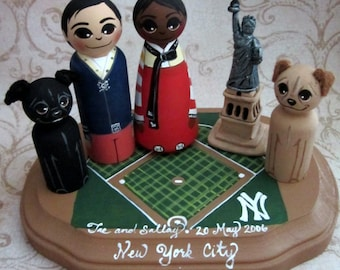 Wedding Cake Topper / Custom Painted Wood Peg Dolls/ Personalized Plaque / Couple Plus 2 small pegs 1 small clay item and Plaque