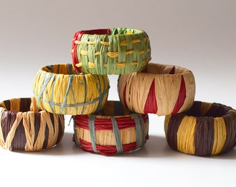 Vintage Raffia Napkin Rings Multi Color
