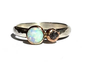 Opal Rough Diamond Ring -Solid 14k Rose Gold -Silver Opal Ring -Opal Ring- Black Raw Diamond - Diamond Opal - Rose Gold Ring- MADE TO ORDER.