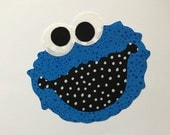 Iron On COOKIE MONSTER Applique...New...Blue Dots...Cute
