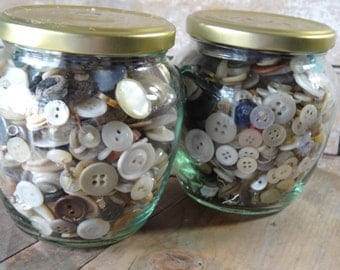 Vintage Buttons Variety With Jar 1 of 2