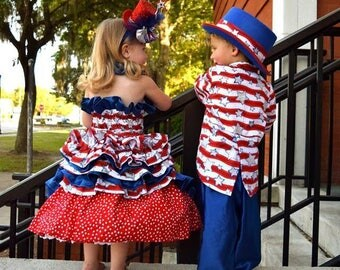 Toddler Girls Party-Pageant Stars and Stripes Patriotic Tea Length Dress, Red-White & Blue with Glitter Stars, Ruffle Bustle, Satin Trim