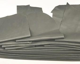 16 Scrap Leather Remnants Lot Lg Gray Italian Leather Cowhide Scraps