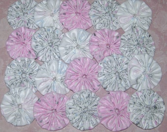 """Fabric YoYos, 20 Pink And White Heart Design, 2"""" Size,  Crafting, Appliques, Embellishments"""
