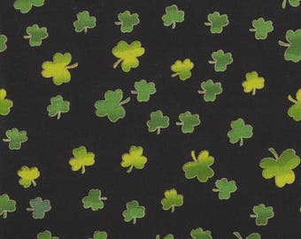 Irish Shamrock Print on Black with Gold Metallic Outline - Cotton Fabric - by the Yard