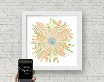 Personalized new baby girl gift, In My Daughters Eyes, QR code custom sound wave art, custom heartbeat art, gift for techy new parents