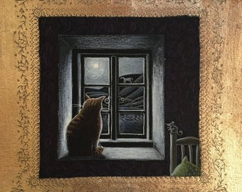 Watching the moonlit hill signed limited edition Giclee print