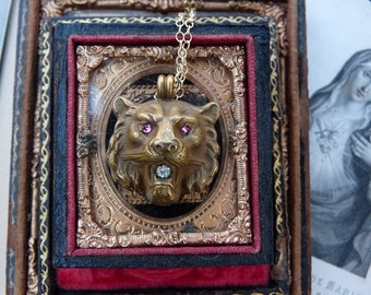 Antique Gothic Lion Head Pendant, Gargoyle Style Talisman for the Passionate, offered by RusticGypsyCreations