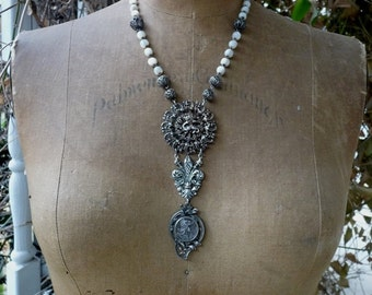 Antique French Crowned Dragon, Fleur De Lis & Warrioress Rosary Necklace,  Warrior Woman, by RusticGypsyCreations