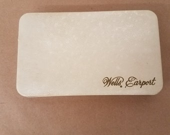 Vintage Small White Wells Earport Jewelry Case